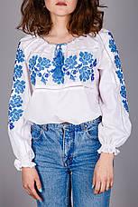 Вышитая женская блуза с синим узором, фото 3