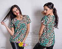 Бирюзовая блуза с леопардовым принтом