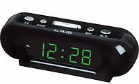 Сетевые электронные часы VST 716-2 зеленые, настольные LED часы, часы настольные с большими цифрами