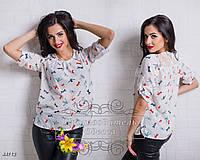 Белая блуза Мелинда с принтом мотылёк
