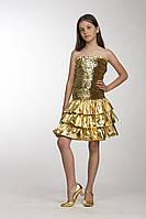 """Платье для вечеринки, выпускного, выступлений """"Блеск""""  с воланом Золото"""