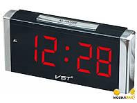 Часы электронные сетевые VST 731-1 красные, часы с будильником vst, часы будильник электронные настольные