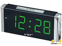 Часы сетевые VST 731-2 зеленые, часы настольные с подсветкой, настольные LED часы, сетевые часы с будильником