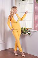 Женский летний деловой костюм Калифорния из итальянской легкой костюмной ткани пиджак и брюки 44-56 размеры