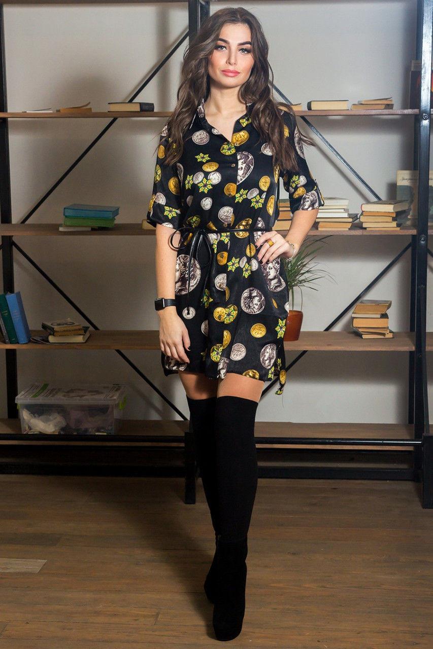 Платье-рубашка модной расцветки