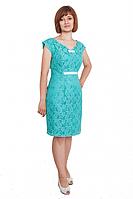 Женское гипюровое  платье бирюзового цвета