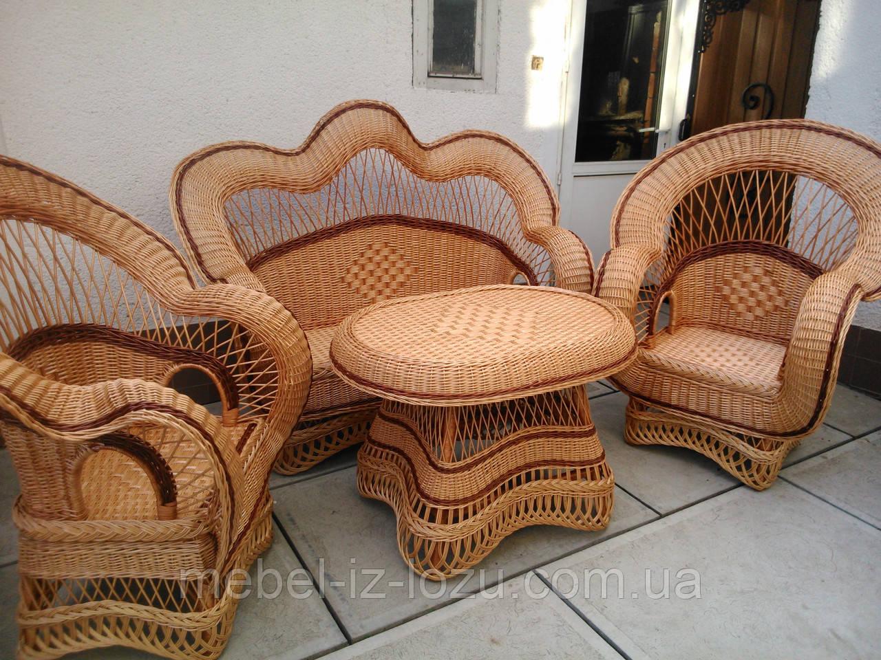"""Набор """"Королевский"""" темный - Мебель из лозы --- Интернет-магазин изделий из лозы в Закарпатской области"""