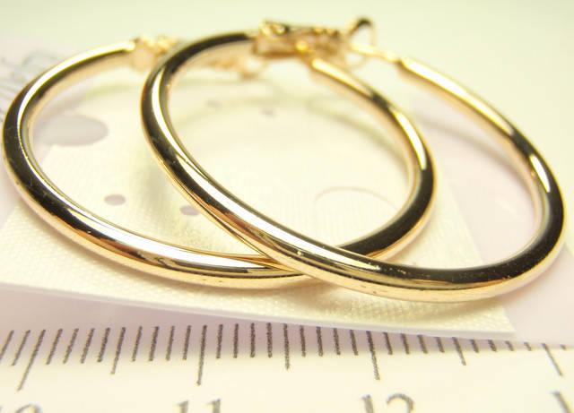 Новое поступление Ювелирная Бижутерия KVD Позолота 18К: Серьги кольца гладкие 6 размеров,