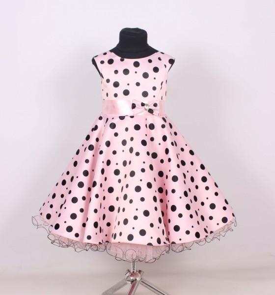 Детское нарядное красивое бальное платье в горошек.
