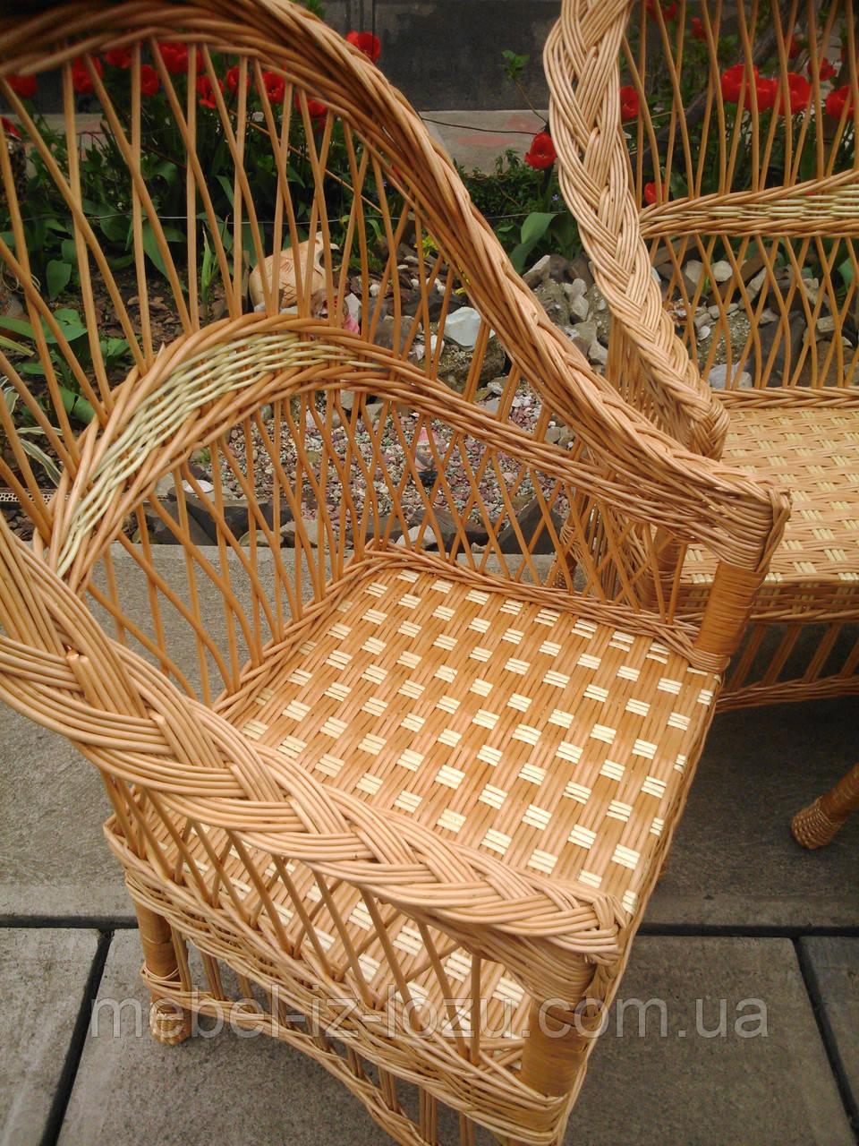 """Кресло """"Обычное"""" с белыми вставками - Мебель из лозы --- Интернет-магазин изделий из лозы в Закарпатской области"""