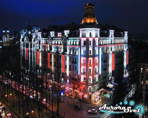 Фасадное освещение отелей. LED подсветка. Светодиодное освещение зданий.