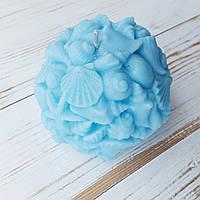 Свеча Ohaina шар-ракушка голубая волна, фото 1