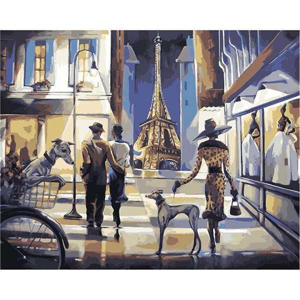 Картина по номерам Роспись на холсте Прогулка по вечернему Парижу КНО2124 40*50 см