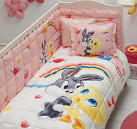 Детское постельное белье с бортиком в кроватку  ТАС LOONEY TUNES TWEETY AND BUGS BUNNY BABY