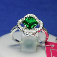 Серебряное кольцо с зеленым фианитом 1081з, фото 1