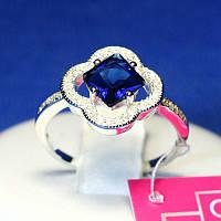 Серебряное кольцо с синим фианитом 1081с