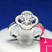 Серебряное кольцо с бесцветным цирконием Блеск 1081