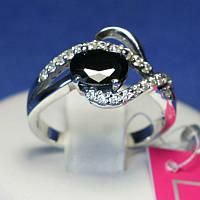 Серебряное кольцо с черным фианитом Восторг 1035ч