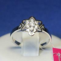 Серебряное кольцо Цветок с цирконом 1089, фото 1