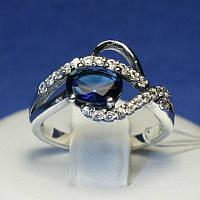 Серебряное кольцо с синим фианитом 1035с, фото 1