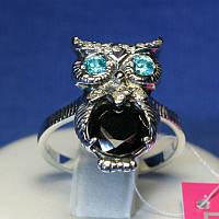 Серебряное кольцо Сова 1090ч, фото 1