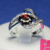 Серебряное кольцо с красным камнем 1035к, фото 1