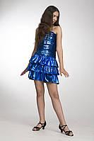 """Платье женское для вечеринки, выступлений """"Блеск-3"""" синее с воланом"""