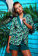 Женский пиджак на лето рукав три четверти зеленого цвета