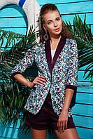 Женский летний пиджак с ярким рисунком Орхидеи