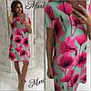 Платье-трапеция с ярким цветочным принтом, фото 2