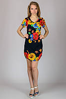 Женское трикотажное платье Подсолнухи синее