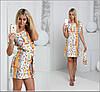 Платье с тканевым поясом и мелким принтом, фото 2
