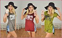 Стильная женская футболка-туника с разрезами / Украина / флям