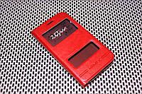 Кожаный чехол книжка Momax для Samsung Galaxy J1 2016 Duos SM-J120 красный