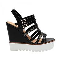 Стильные босоножки женские черные на танкетке SK63-1 BLACK,магазин обуви