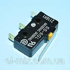 Микропереключатель 20х11х6мм SS-5GL, короткий рычаг, 5A, 3pin  Omron