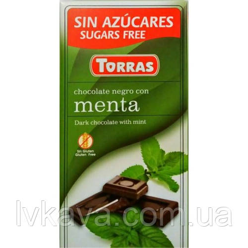 Черный  шоколад Torras c мятой  без сахара  , 75 гр