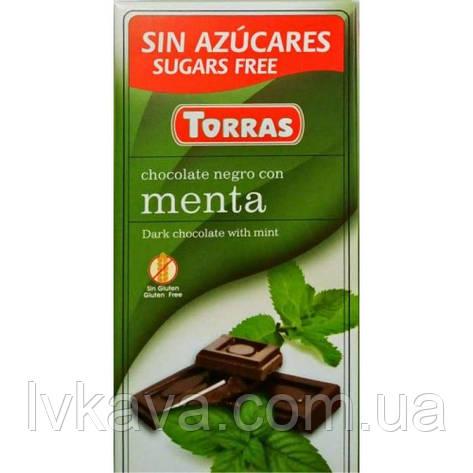 Черный  шоколад Torras c мятой  без сахара  , 75 гр, фото 2