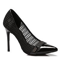 Туфли лодочки женские черные с сеточкой  A929-1 BLACK