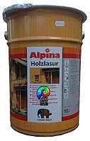 Водоотталкивающая лазурь Alpina HOLZLASUR Ebenholz (чорне дерево)10 л