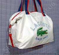Cумка Lacoste 114019 белая женская спортивная из ткани и кожзама 40 см х 26 см х 17 см