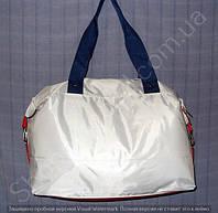 Cумка 114020 белая женская спортивная из ткани и кожзама 40 см х 26 см х 17 см