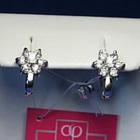 Серебряные серьги с фианитом Цветок 2025, фото 1