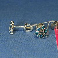 Серебряные серьги-гвоздики с фианитом 2109г