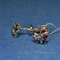 Серьги-пусеты серебро с красным цирконом 2109к, фото 1