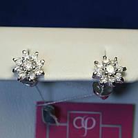 Серебряные серьги-пусеты для детей маленькие Цветы 2115
