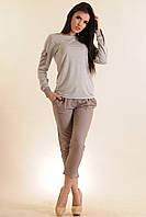 Женский костюм блуза в полоску и брюки | серый (р.42-52)