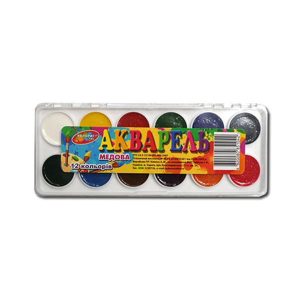 Краски акварельные Колорит 12цв пластик
