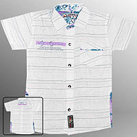 Рубашка детская (Белый со светло фиолетовым)