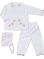Набор: кофта. штаны и шапочка (Белый)